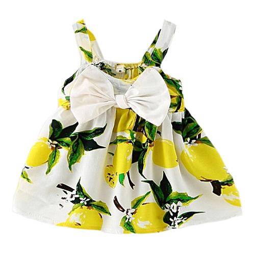 Baby Girls Summer Lemon Dress With Bowknot Yellow