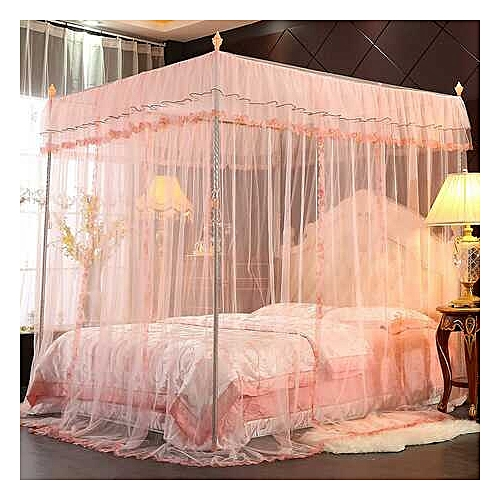 Mosquito Net Bed Canopy-Lace Luxury 4 Corner Square Princess Fly Screen, Indoor Outdoor