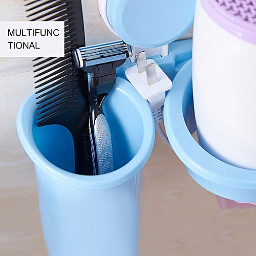 Wall-Mounted Suction Cup Hair Dryer Holder Rack Bathroom Storage Organizer