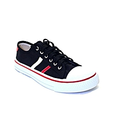 Striped Sneakers - Black/Red