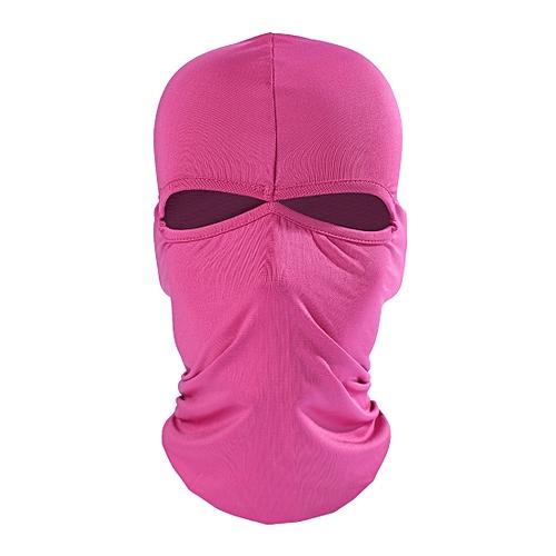 Balaclava Style Unisex Elastic Lycra Dual Holes Biking Head Mask(Magenta)