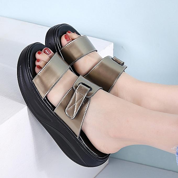 4c9136a7e8c9 ... 2018 Summer Women Slippers Female Open Toe Flip Flops Ladies Beach Slippers  Wedges Sandals Women Flat ...