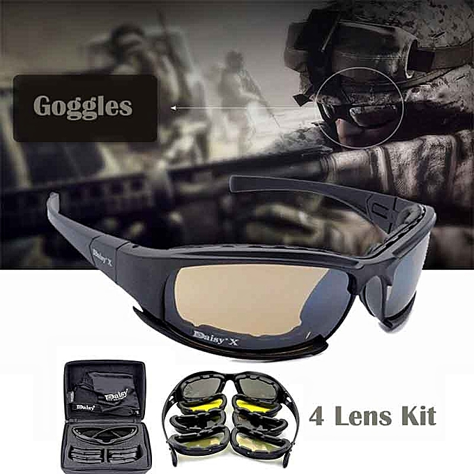 c5f2e69a3753a 4 Lens Kit Army Goggles Military Sunglasses Men s Outdoor Sports War Game Tactical  Glasses