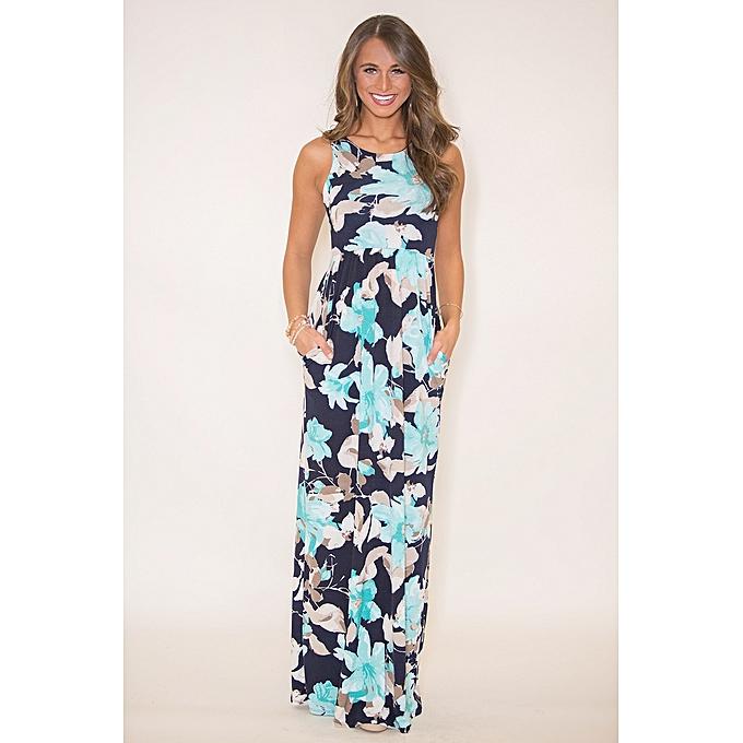 58ad4a068c16 Summer Women Bohemian Long Dress Sleeveless Floral Print Dress Female Spaghetti  Strap Maxi Dress