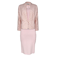 Uncommon Peach And White Ladies Dress Suit