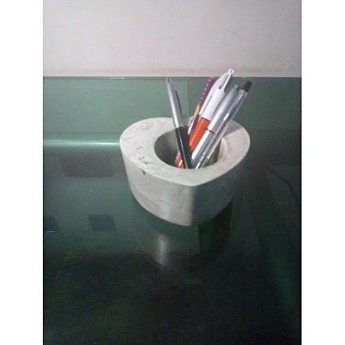 Hand-made Marble Grey Pen/Pencil Table Holder