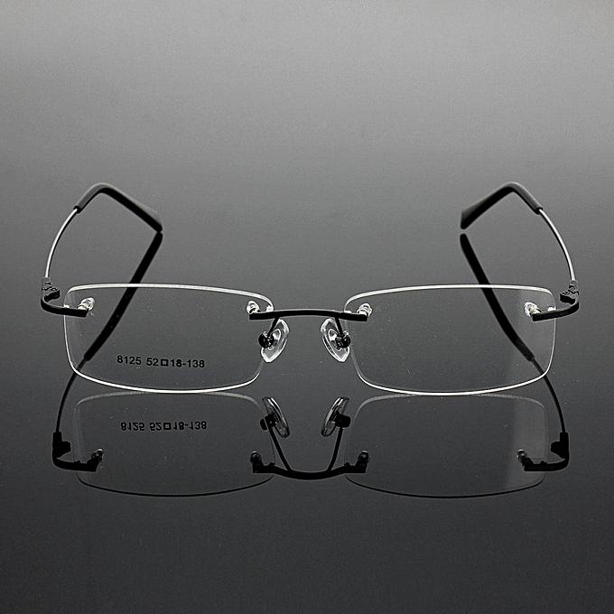 8ff611cc53 Rimless Glasses Lightest Rx Optical Eyeglasses Memory Titanium Spectacles  Frame Black