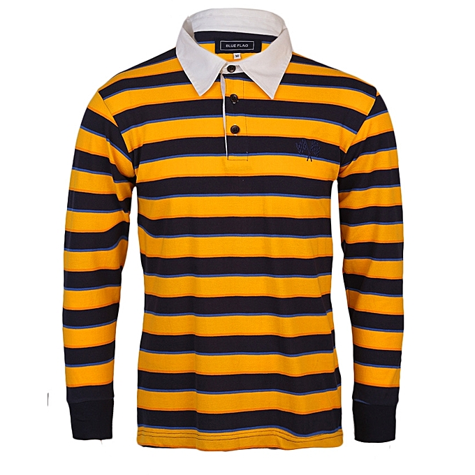 5ca1315c0 Blue Flag Long Sleeve Rugby Polo - Blue Yellow