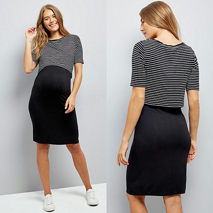 879972541f5 New Look Black Stripe Layered Maternity Nursing Dress | Jumia NG