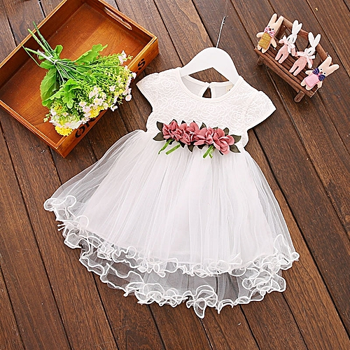 Baby Girls Summer Dress With Bowknot White