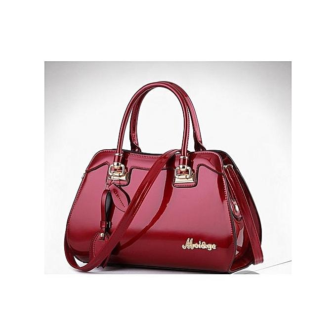 New Bright Elegant Solid Patent Designer Handbag Wine Red