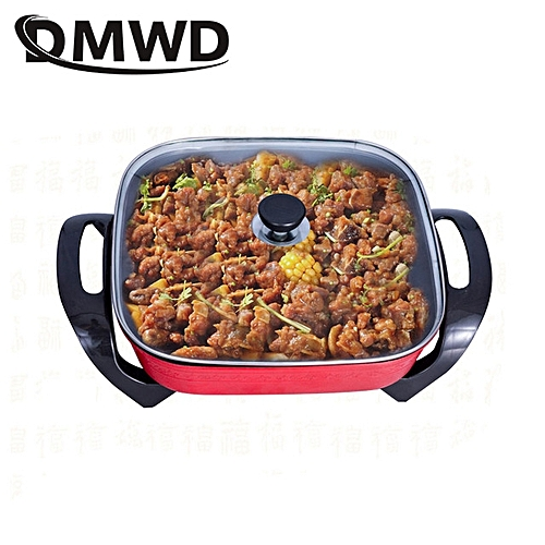 DMWD Multifunction Frying Pan Electric Roasting Oven Korean Heat Stew Soup Hot Pot 5L Grill Skillets Cooking Hotpot Food Steamer