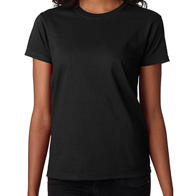 f66af86d063c BnB Plain BLACK Women Polo Tshirt ROUNDneck | Jumia NG