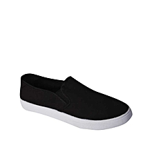 Female Synthetic Low Wedge Sneakers – Black