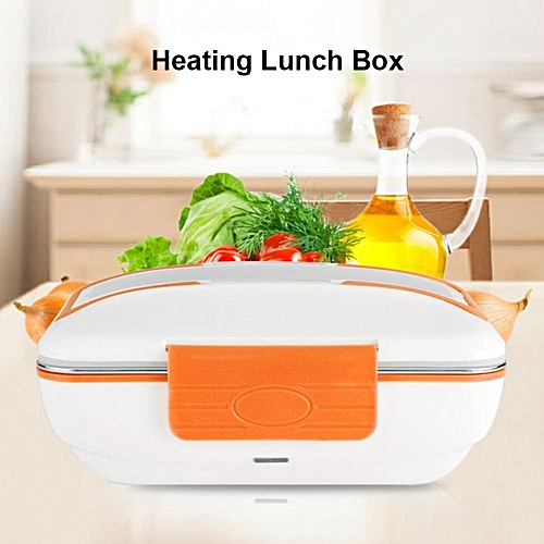 Electric Heating Lunch Box Stainless Steel Food Container Home Office Use Orange (220V EU Plug)
