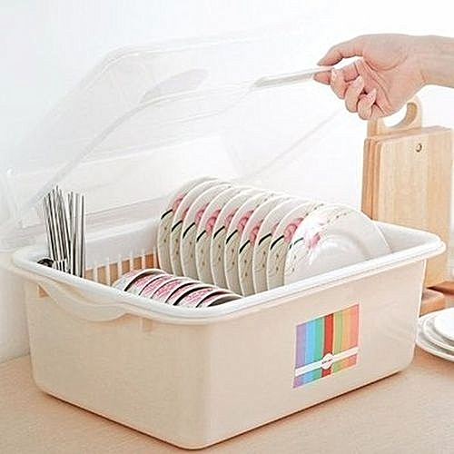 Plastic Table Top Plate Rack & Dish Plate Drainer With Cover