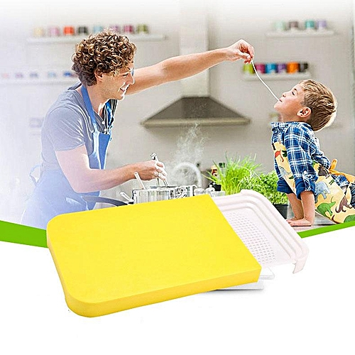 2 In 1 Kitchen Cutting Board Non-slip Folding Cutter Multifunctional Plastic Chopping Board Creative Food Storage Box Basket Kitchen Foldable Chopping Block Antibacterial Cutting Mat