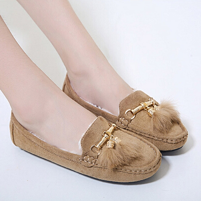 Women Winter Tassel Flats Shoes Lady Casual Soft Pea Shoes Boots BG 35-Beige 465095f923