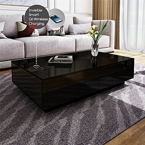 Boxini Smart Wireless Charge Coffee Table (4 Storage Drawers)
