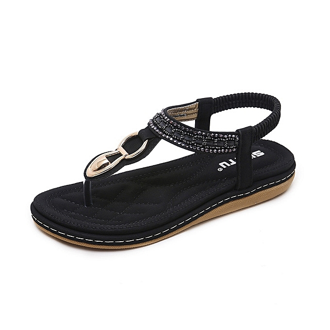 9c100da713c New Style Super Large Size Leather Women Sandals Bohemian Diamond Slippers  Woman Flats Flip Flops Shoes