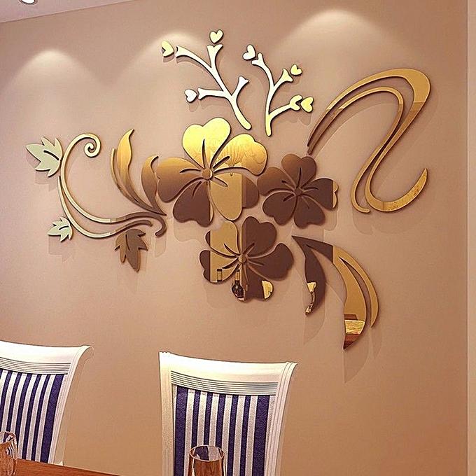 skywolfeye 3d mirror floral art removable wall sticker acrylic mural
