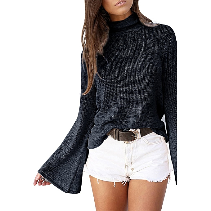 cc071b2bba4 Female Turtleneck Sweater Sexy Solid Casual Back Strap Pullovers Women Tops