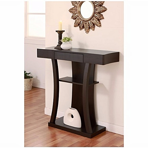 Modern Multi-storage Cappuccino Console Table