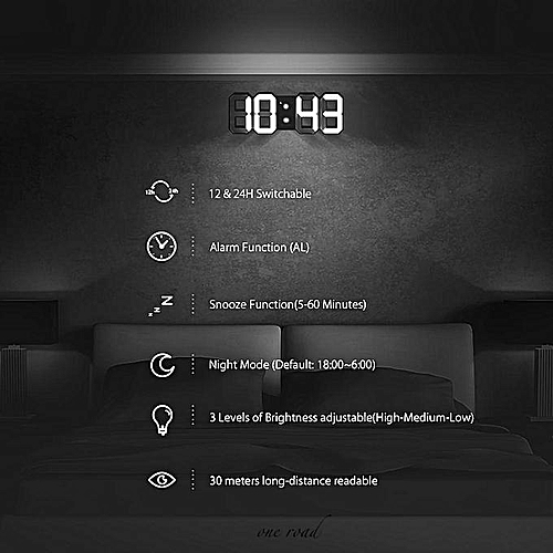 Digoo Led Wall Clock Alarm Clock Digital 3D White Snooze 12/24 Hour Display Usb