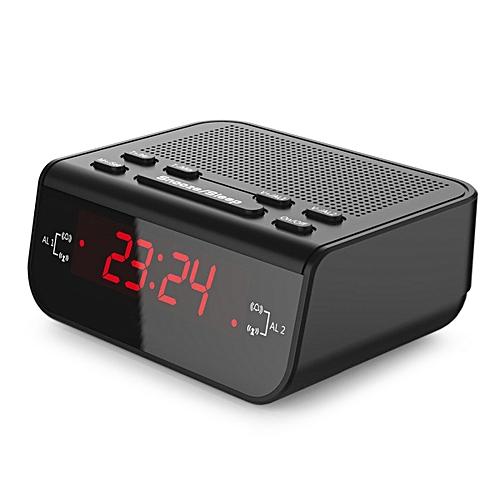 Digital Alarm Clock FM Radio W/ Dual Alarm, Red LED, Snooze - Black