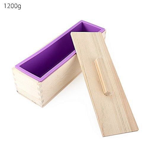 Rectangular Solid DIY Silicone Soap Mold Wooden Box With Cover 1200g - Purple