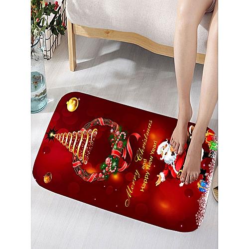 Christmas Wreath Santa Claus Print Flannel Bath Rug - Dark Red