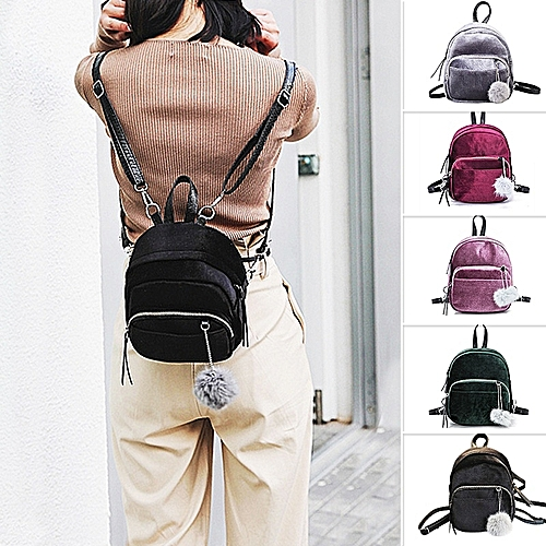6638f6c465b MARSEE Mini Fur Ball Backpack Fashion Shoulder Bag Solid Women Girls Travel School  Bags Gift