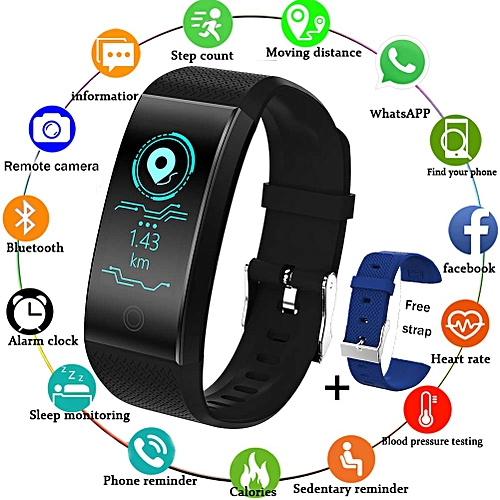 Fitness Trackers,Waterproof Sports Smart Bracelet Color Screen Pedometer Heart Rate Sleep Monitor For Men Women Kids Smart Outdoor Sports Watch Black Activity Tracker For Android&iOS + Free Strap