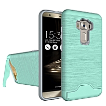For Asus Zenfone 3 / Ze552kl Brushed Texture Separable Pc + Tpu Protective Combination Back Case With Holder And Card Slot (green)