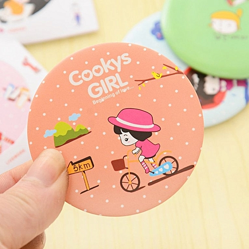 Lovely Cartoon Design Makeup Mirror Compact Round Shape Shatter-Proof Mirror Randomly Delivered