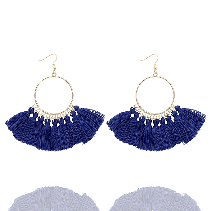 Cotton Tassel Earrings Gold Plated Royal Blue Circle Ring 90mm(3 4/8