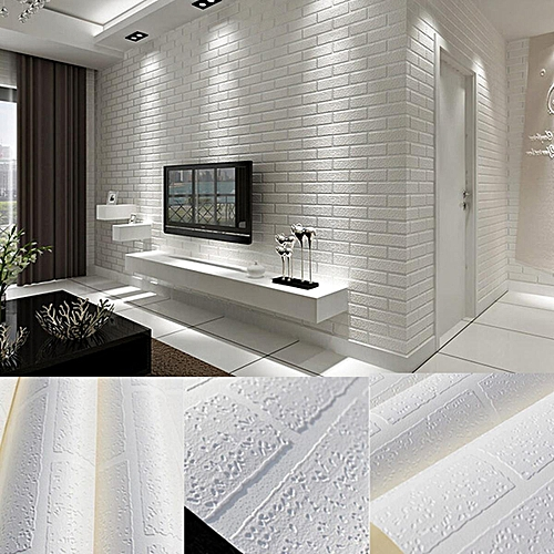 3PCS 10m Brick Pattern 3D White Textured Non-woven Flocking Wallpaper Wall Paper Roll
