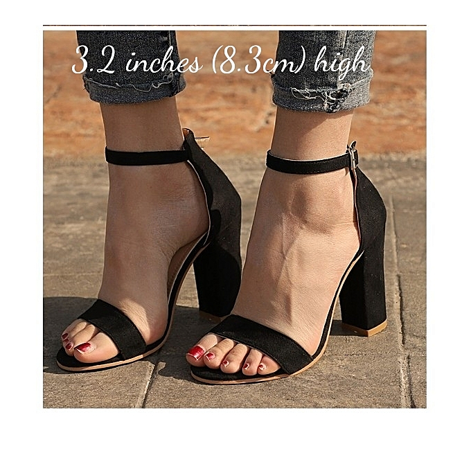 c757ac64ad8 Fashion Ladies Ankle Strap Shoes Moderate Block Heel Sandal-Black ...
