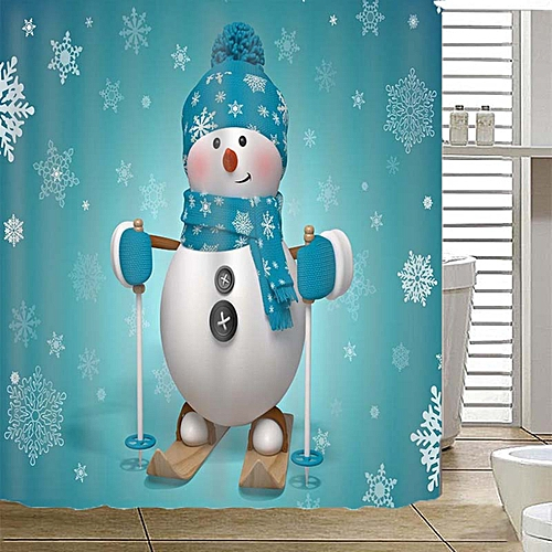 Skiing Snowman Christmas Decor Waterproof Bath Home Shower Curtain + Hooks 71''