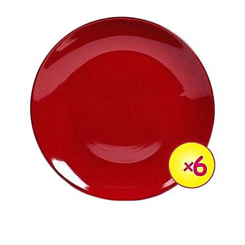 Breakfast Plates, Pack Of 6 - Red