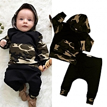 1d207beb5db Newborn Kids Baby Boys CamoOutfits Set Tops Hoodie Long Pants 2Pcs Clothes