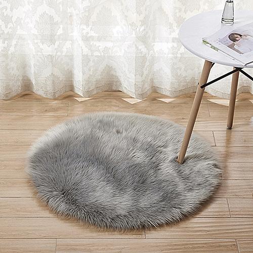 Plush Round Carpet Floor Mats Indoor Full Shop Decoration Diameter - Gray