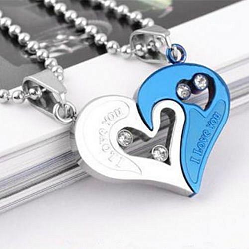 Couple Necklace Heart Studded Pendant - Silver & Blue