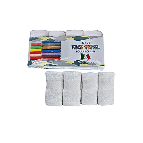 4 Pieces Set Of Face Towel - White ( 30 X 30 )