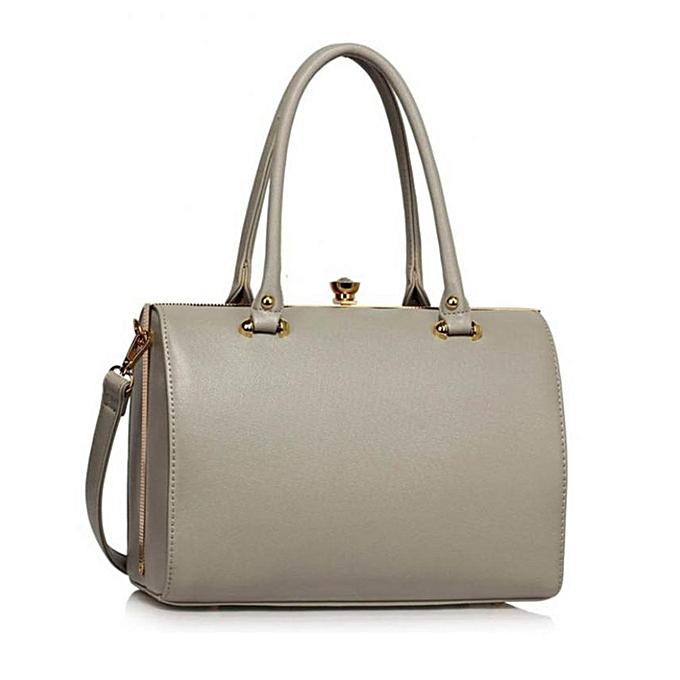 LS Structured Metal Frame Top Handbag - Grey | Jumia.com.ng