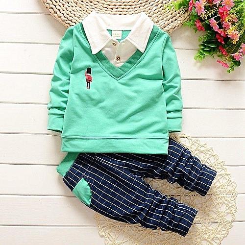 2PC Baby Boys Suit Outfits Infant Party T-shirt + Pants Set