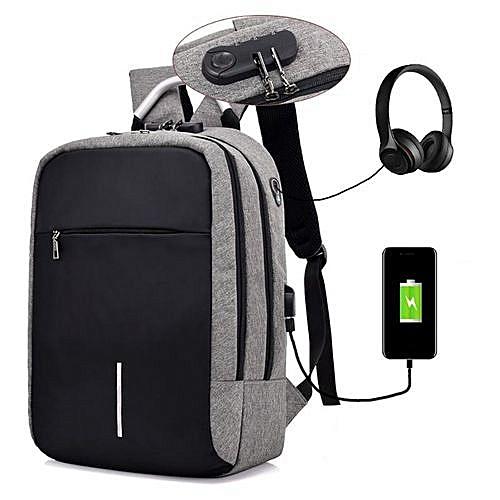 2019 Anti Theft Oxford Smart Bag With Power Bank- Smart Laptop Backpack, Security Travel Backpack For Men & Women, School Bookbag, Water Repellant With USB Charging Port - Grey