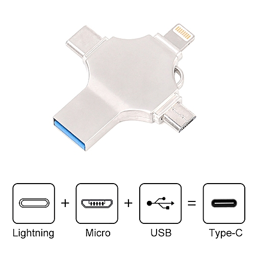 4-in-1 Multi-function Metal USB Flash Drive USB 3.0 Flash Memory For Iphone Android Type-c Usb