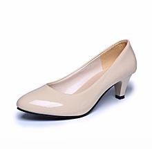 Nude Shallow Mouth Women Office Work Heels Shoes Elegant Ladies Low  Heel-Beige (EU c120209b40e3