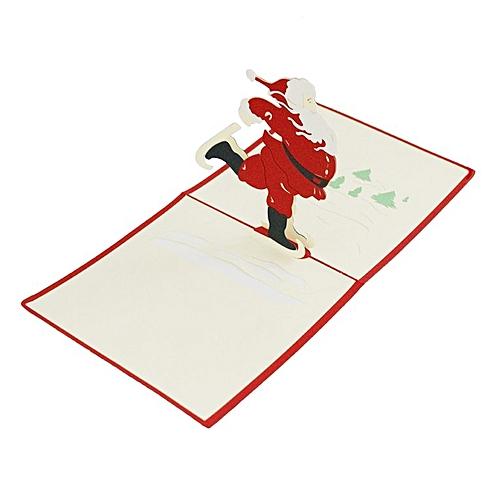 Christnas 3D Pop Up Cards Cute Dancing Santa Claus Series Greeting Card